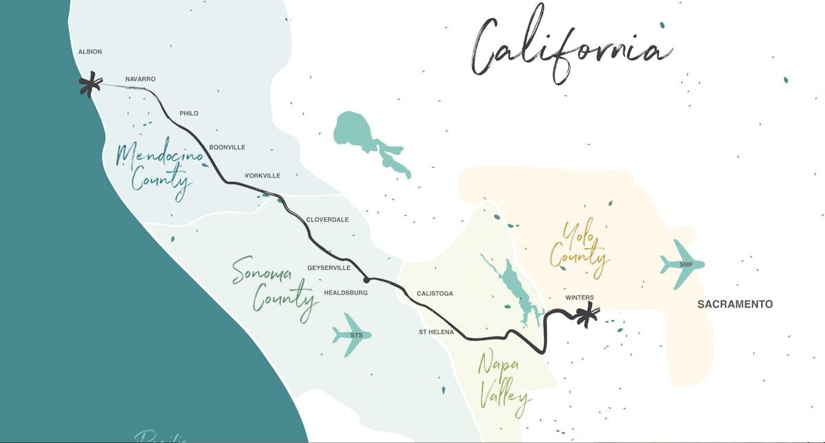 map of highway 128